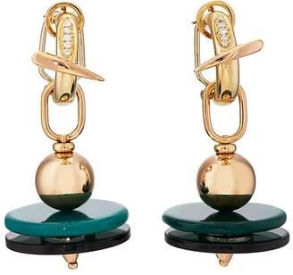 Mahnaz Collection Women's Diamond & Agate Drop Earrings