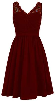 JAEDEN Short Lace Bridesmaid Dress for Wedding Chiffon Prom Party Gown with Pleat XXL