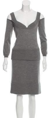 Christian Dior Wool Rib Knit Skirt Set