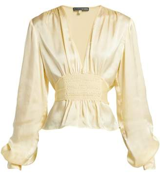 ALEXACHUNG Evening Smocked Satin Top - Womens - Pale Yellow