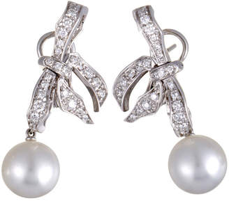 Mikimoto 18K 1.12 Ct. Tw. Diamond & 10-11Mm Pearl Earrings