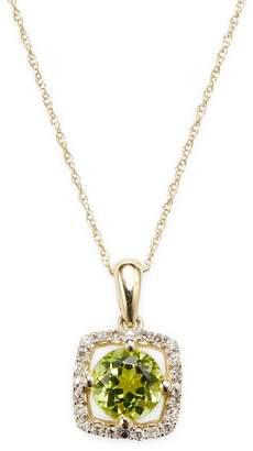 Rina Limor Fine Jewelry Women's 10k Yellow Gold Peridot and Diamond Halo Square Pendant Necklace