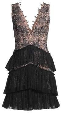BCBGMAXAZRIA Women's Sleeveless V-Neck Tiered Lace Dress - Bare Pink - Size 0
