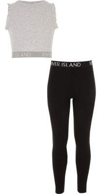 River Island Girls grey ruffle crop and legging outfit