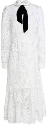 Temperley London New Moon Velvet-Trimmed Corded Lace Midi Dress