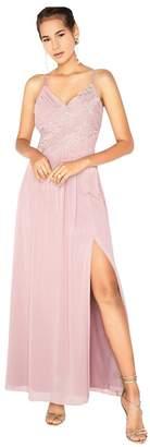 Little Mistress Fran Applique Lace Top Strappy Maxi Dress