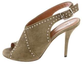 Givenchy Stud-Embellished Suede Peep-Toe Pumps