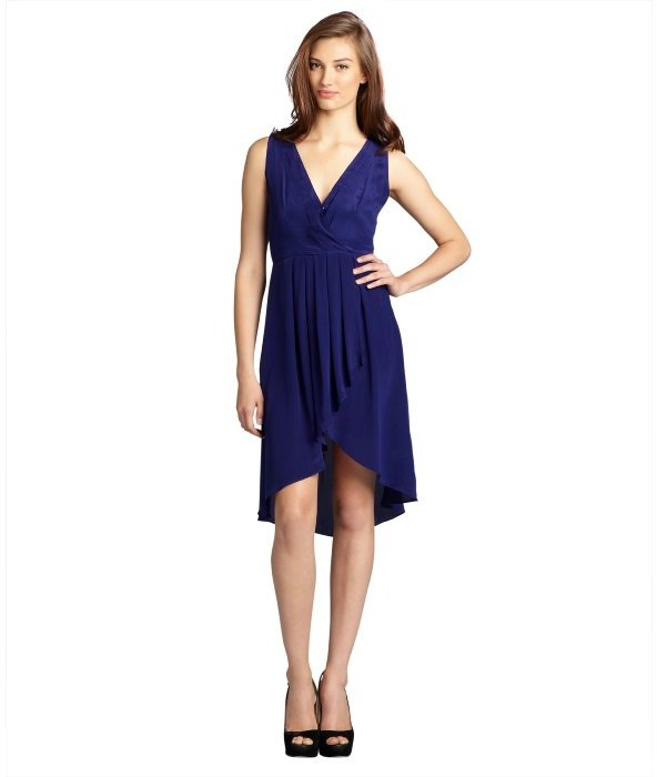 Aryn K royal blue silk v-neck high low cutout back dress
