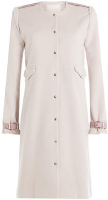Blend of America Marina Hoermanseder Wool-Angora Coat with Leather Deatils