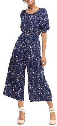 Gal Meets Glam Violet Floral Print Jumpsuit