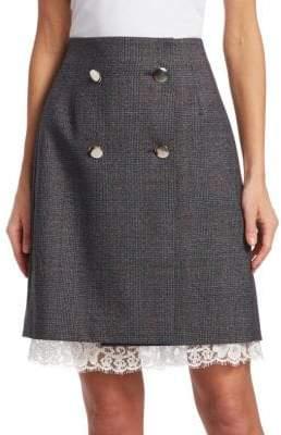 Calvin Klein Fancy Glen Check Wool Skirt