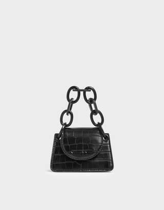 Charles & Keith Animal Print Chunky Chain Handle Mini Bag