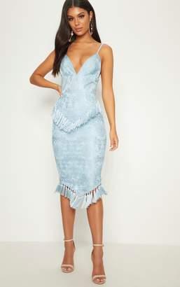 PrettyLittleThing Dusty Blue Lace Tassel Trim Plunge Midi Dress