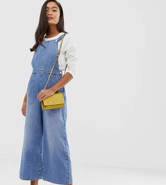 Miss Selfridge cropped overalls with wide leg in denim