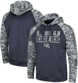 Colosseum Men's Charcoal/Camo LSU Tigers OHT Military Appreciation Digi Camo Raglan Pullover Hoodie