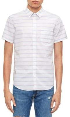 Calvin Klein Jeans Space-Dyed Stripe Cotton Sport shirt.