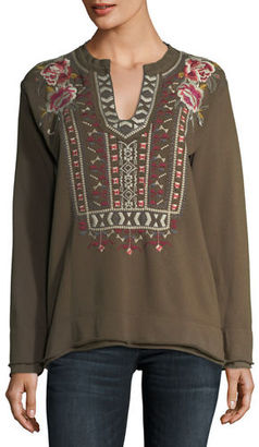 Johnny Was Issoria Embroidered French Terry Sweatshirt $180 thestylecure.com