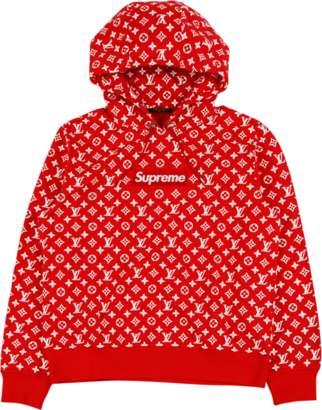 Louis Vuitton All Over Monogram Hoody - 'Louis Vuitton X Supreme' - Red