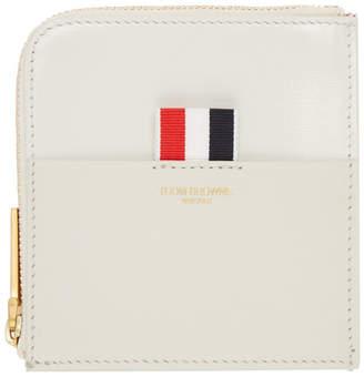 Thom Browne Beige Square Half-Zip Wallet