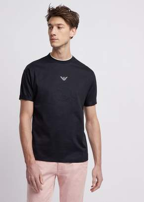 Emporio Armani Loose-Fitting Mercerized Cotton T-Shirt With Logo And Embroidery