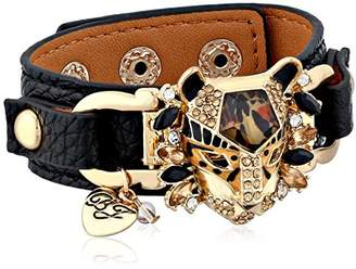 Betsey Johnson Hollywood Glam Leopard Faux Leather Snap Bracelet