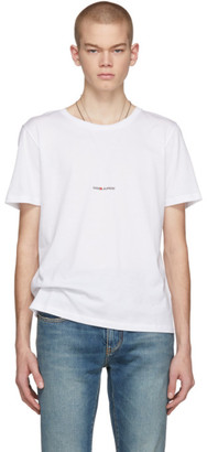 Saint Laurent White Rive Gauche Logo T-Shirt