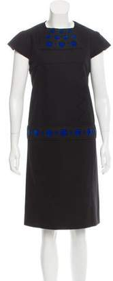 Saint Laurent Velvet-Accented Wool Dress w/ Tags