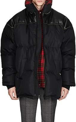 Balenciaga Men's Ripstop & Leather Oversized Puffer Coat - Black