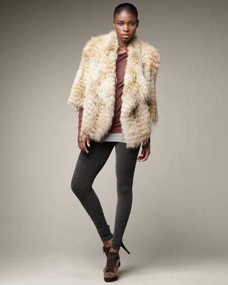 Vince Coyote Fur Jacket Fine-Gauge Drape-Neck Sweater Favorite Tank & Stretch Corduroy Leggings