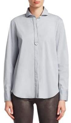 Brunello Cucinelli Spread Collar Poplin Button-Down Blouse