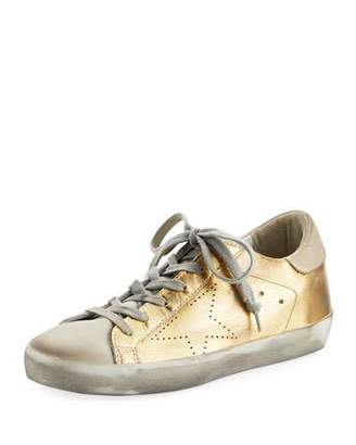 Golden Goose Metallic Leather Lace-Up Platform Sneakers