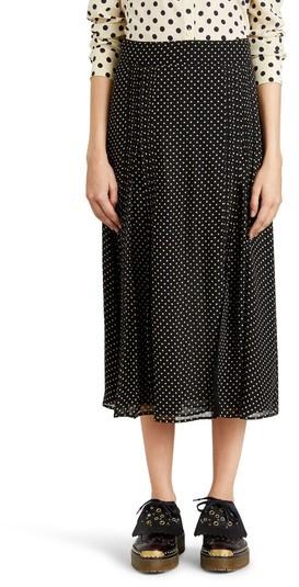 Women's Burberry Fine Pintuck Dot Print Silk Skirt