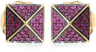 Artisan 18K Gold Spike Earring With Ruby
