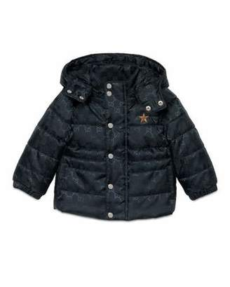 Gucci GG Jacquard Puffer Jacket, Navy, Size 6-36 Months $685 thestylecure.com