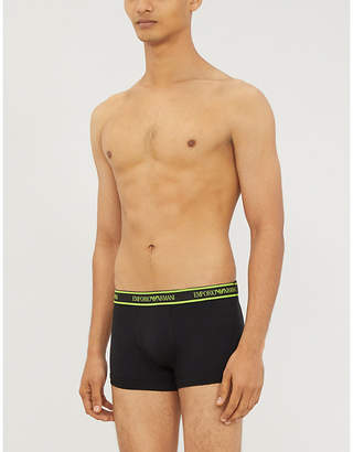 Logo-detail slim-fit stretch-cotton trunks pack of three