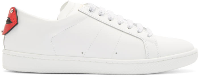 Saint Laurent White and Blue Court Classic SL-01 Lips Sneakers