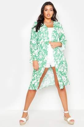 boohoo Plus Bright Floral Print Belted Midi Kimono