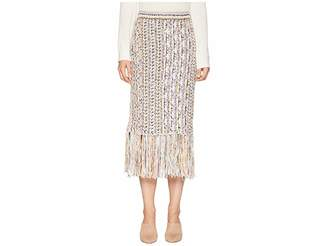 ADAM by Adam Lippes Handknit Tweed Midi Skirt with Fringe