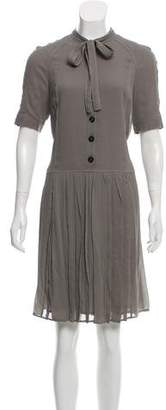 Burberry Pleated Knee-Length Dress