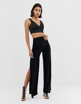 Fashionkilla wide leg split PANTS in black