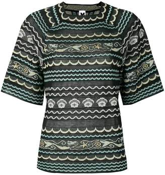 M Missoni mixed-pattern short sleeve top