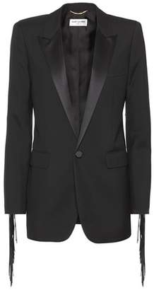 Saint Laurent Leather-fringed wool blazer