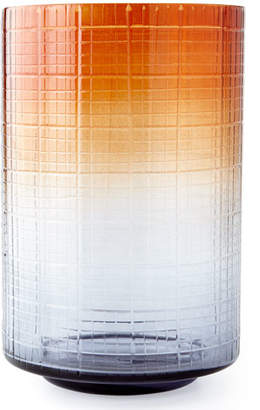 Large Cut Glass Ombre Hurricane Vase