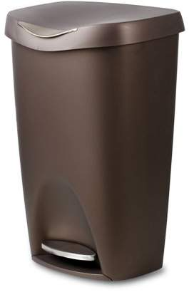 Umbra Brim Large Kitchen Trash Can with Stainless Steel Foot Pedal Stylish and Durable 13 Gallon Step Garbage Can with Lid, (Bronze)