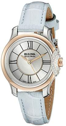 Bulova Accu Swiss Women's 65R158 Diamond Stainless Steel Watch With Blue Leather Band $284.44 thestylecure.com