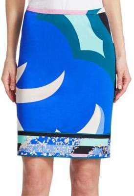 Emilio Pucci Print Jersey Pencil Skirt
