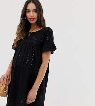 dec2a3f40b174 Asos DESIGN Maternity frill sleeve broderie smock dress