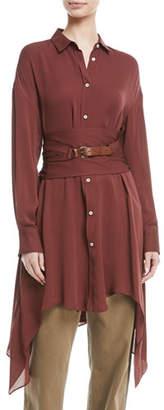 Brunello Cucinelli Long-Sleeve Button-Down Silk Tunic w/ Wrap Belt & Leather Closure