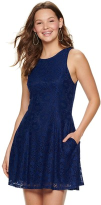 Speechless Juniors' Lace Dress with Back Bow Tie and Pockets