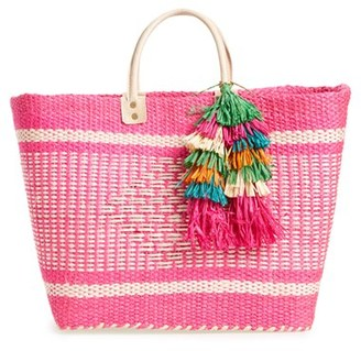 Mar Y Sol 'Ibiza' Woven Tote With Tassel Charms - Pink $139 thestylecure.com